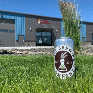 Sage beer can and exterior of Sage Brewing Company Pasco Washington